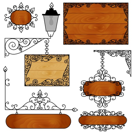 wood craft: illustration of a set of forged boards for ads