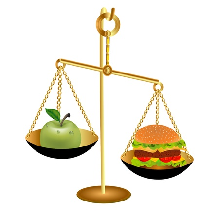 illustration of the comparison of the weight of an Apple and a hamburger for health Stock Vector - 16566011