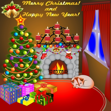 christmas room: illustration of Christmas fireplace with a tree gifts candles and a cat Illustration