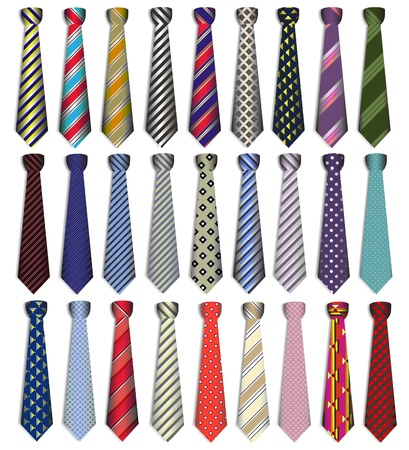 illustration of a set of male business ties on a white background