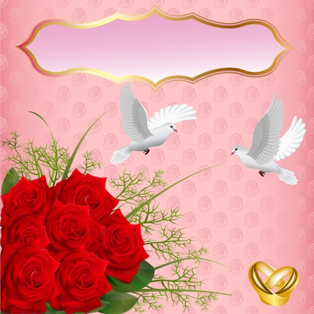 illustration wedding card with roses and rings pigeons Stock Vector - 16566018