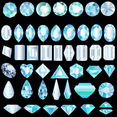 diamond shaped: illustration of a set of light precious stones of different cut