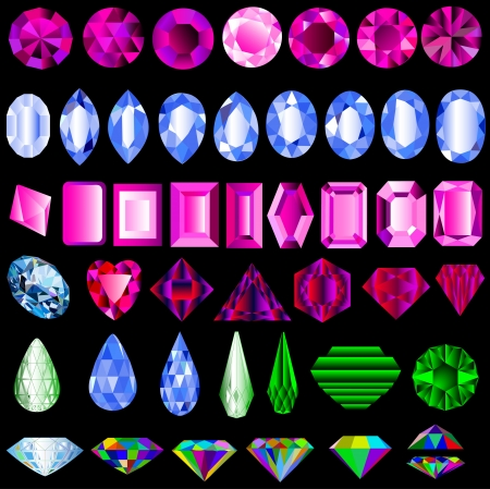 illustration of a set of precious stones of different cut Vector