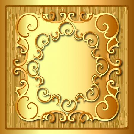 illustratie achtergrond frame met gouden patroon en textuur