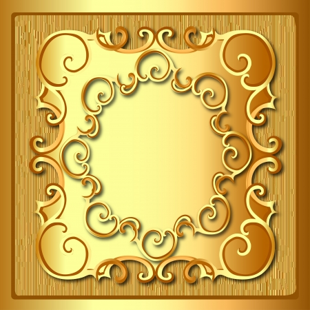 illustration background frame with gold pattern and texture