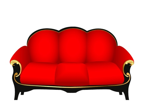 illustration sofa red with gold carved patterns Vector