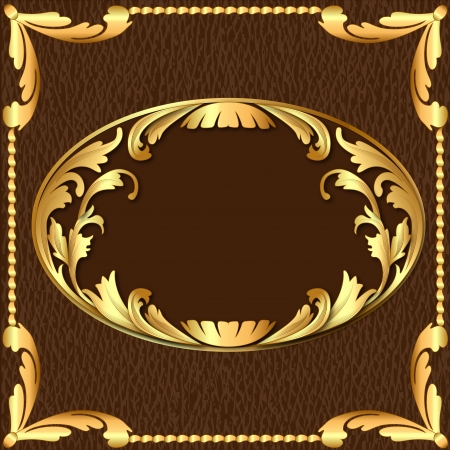 leather label: illustration background with gold pattern and texture of the skin