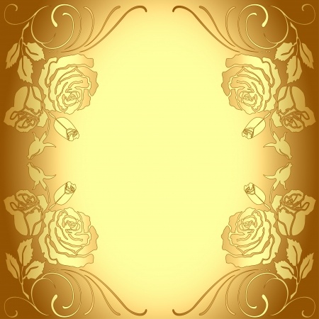 illustration background frame with gold pattern of roses Stock Vector - 16659855
