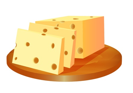illustration of cheese cut in the board Vector