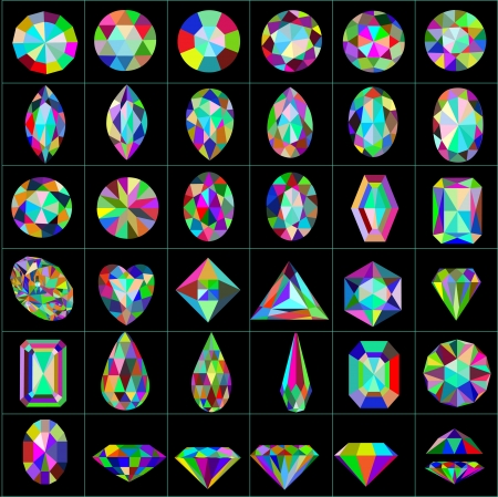 diamond shaped: illustration set of precious and artificial stones of different cuts Illustration