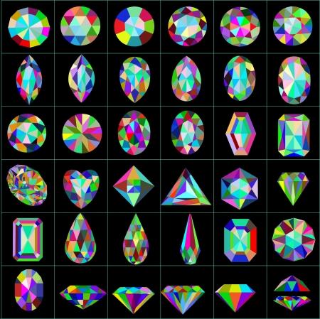 pietre preziose: illustrazione set di pietre preziose e artificiali di diversi tagli