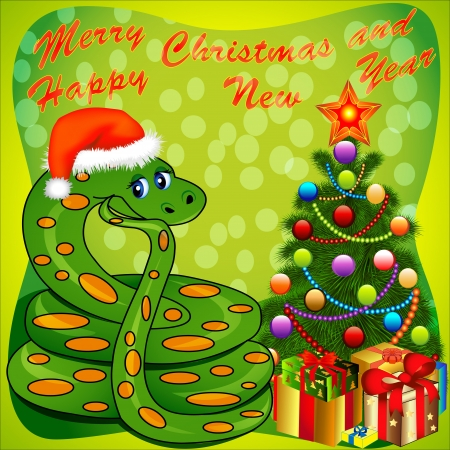 illustration of a Christmas tree and a snake with gifts on green Illustration