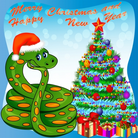 chinese holly: illustration of a Christmas tree and a snake with gifts