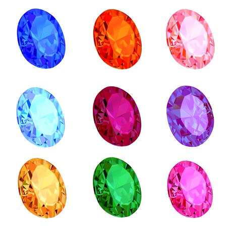 illustration of a set of transparent precious stones on the white