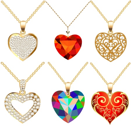 illustration set of pendants pendant with precious stones in the form of heart Vettoriali