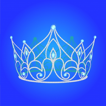 illustration tiara women  wedding with blue jewels Vector