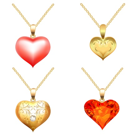 illustration set of pendants with precious stones in the form of heart Vector