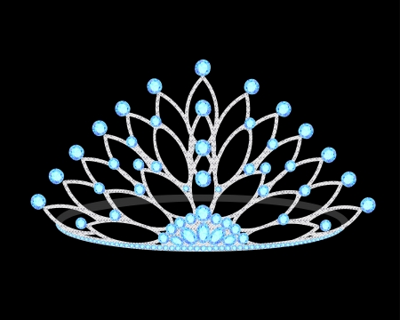 illustration tiara womens wedding with precious stones on the black Vector