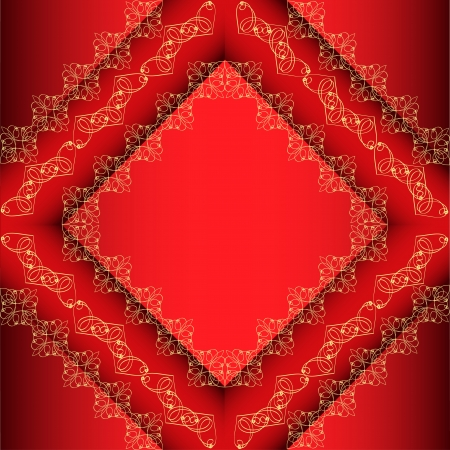 illustration of a red background frame with gold ornament Vector