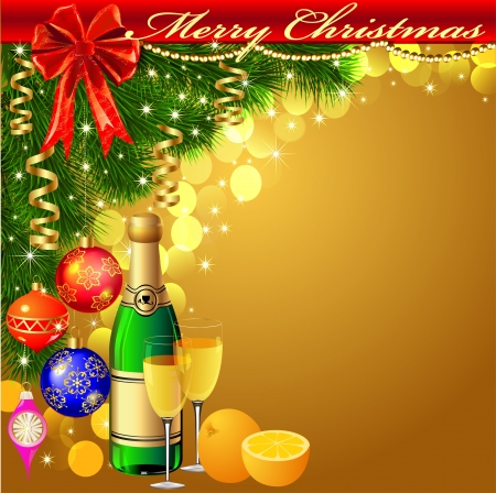 illustration background with balls and glasses of champagne with Christmas tree Vector