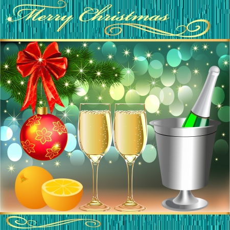 illustration background with balls and glasses of champagne with orange Vector