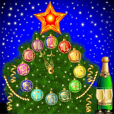 illustration background with Christmas tree balls for hours and champagne Stock Vector - 16927412