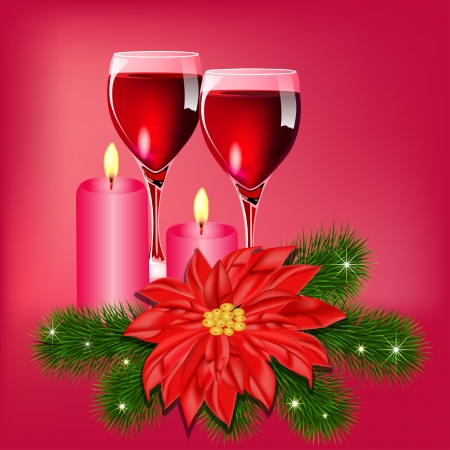 Christmas flower illustration background with champagne and candles Stock Vector - 16927391