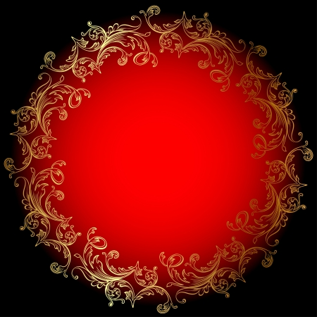 aristocratic: illustration of the round red background with gold ornament