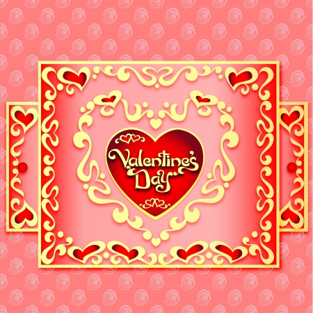 illustration festive postcard with hearts and ornaments for Valentines Day Vector