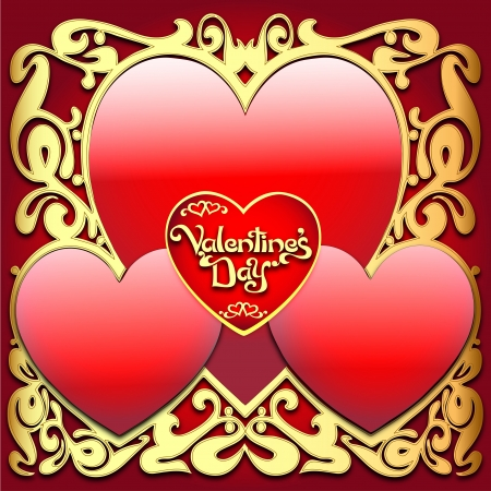 illustration of card with hearts and ornaments for Valentines Day Stock Vector - 17043128