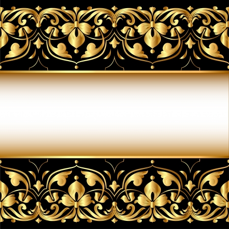 illustration a gold background with a strip with a gold vegetative ornament Stock Vector - 17043124