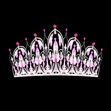 illustration tiara women's wedding with pink precious stones Vector