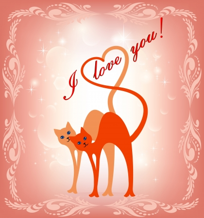 illustration of card with a cat and the cat and heart Stock Vector - 17235580