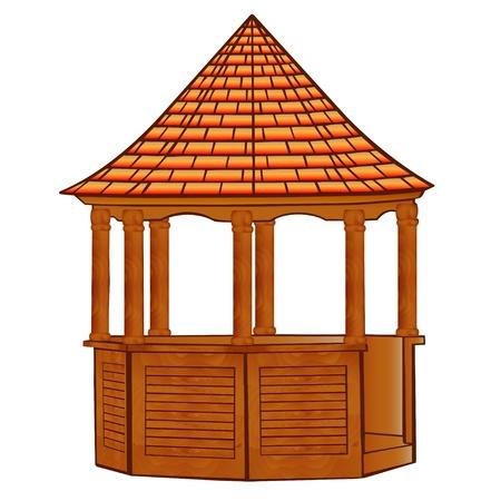 gazebo: illustration of a wooden gazebo on white