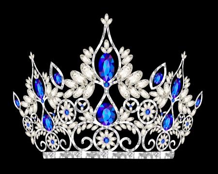 corona real: boda tiara corona ilustración de la mujer con una piedra azul Vectores