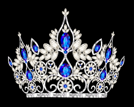 queen diamonds: illustrazione matrimonio tiara corona donna con una pietra blu Vettoriali