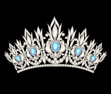 illustration tiara crown women's wedding with a light blue stones