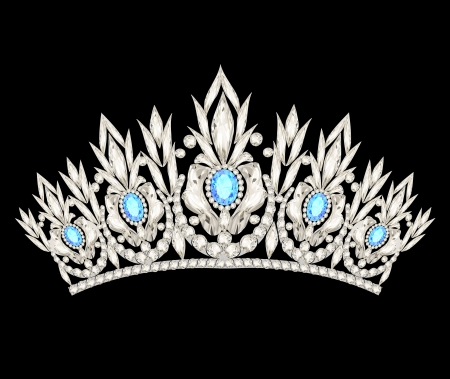 illustration tiara crown womens wedding with a light blue stones Vector