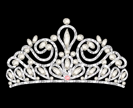 costume jewellery: illustration tiara crown womens wedding with white stones