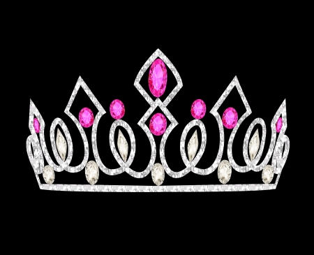 illustration tiara crown women's wedding with pink stones Vettoriali