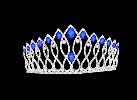 illustration tiara crown womens wedding on the black Vector