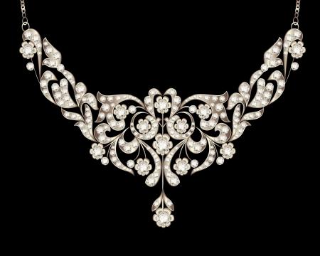 illustration necklace women's wedding with precious stones