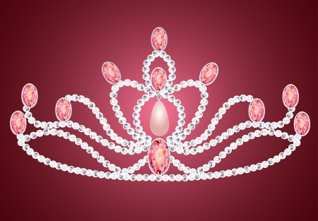 illustration tiara crown womens wedding on the pink Vector