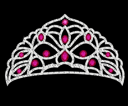 illustration tiara crown women's wedding with red stones Vector