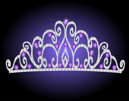 illustration of womens tiara crown wedding with purple stones Vector