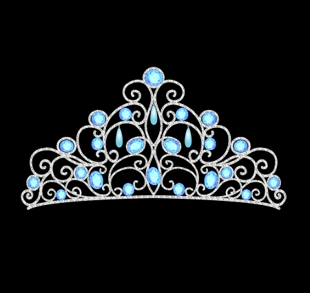 illustration of women's tiara crown wedding with blue stones and pearls