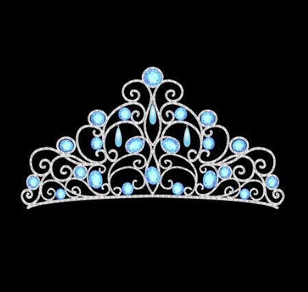 illustratie van vrouwen tiara kroon huwelijk met blauwe stenen en parels Stock Illustratie