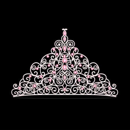 diamond shaped: illustration of womens tiara crown wedding with pink stones Illustration