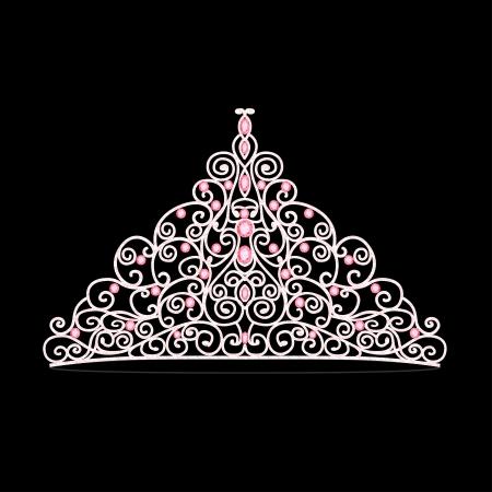 corona de princesa: ilustración de la tiara de la boda de la mujer con corona de piedras rosas