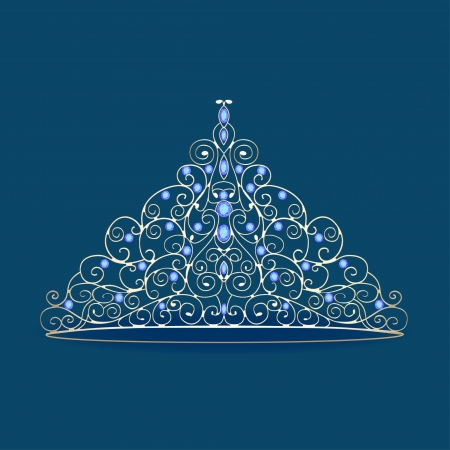 illustration of womens tiara crown wedding with blue stones on a blue Vector
